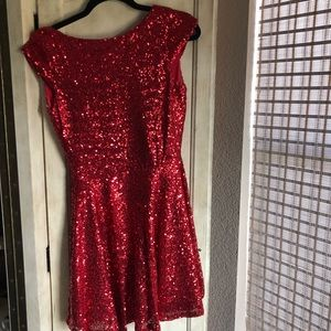 Red Sequins Cap Sleeved Dress 4
